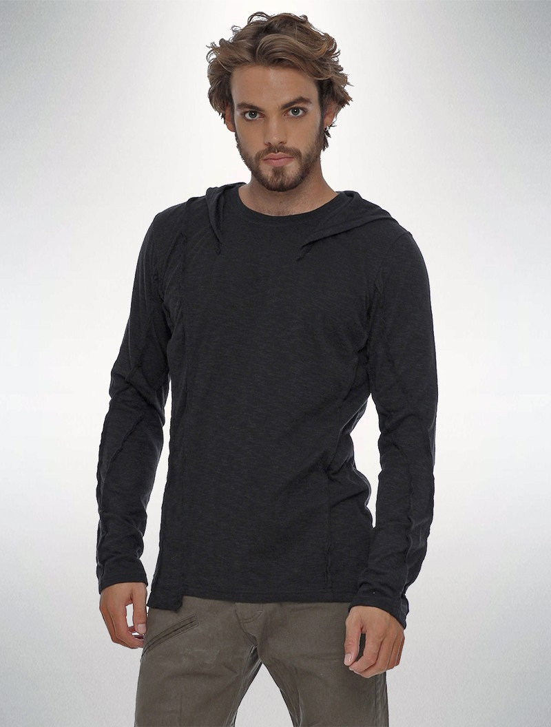"""Slit\"" hooded sweatshirt, Black"