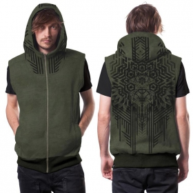 """Snagonal\"" sleeveless zipped hoodie, Mottled khaki green"