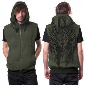 "\""Snagonal\"" sleeveless zipped hoodie, Mottled khaki green"