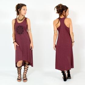 "\\\""Snowflake mandala\\\"" asymmetric dress, Wine and black"
