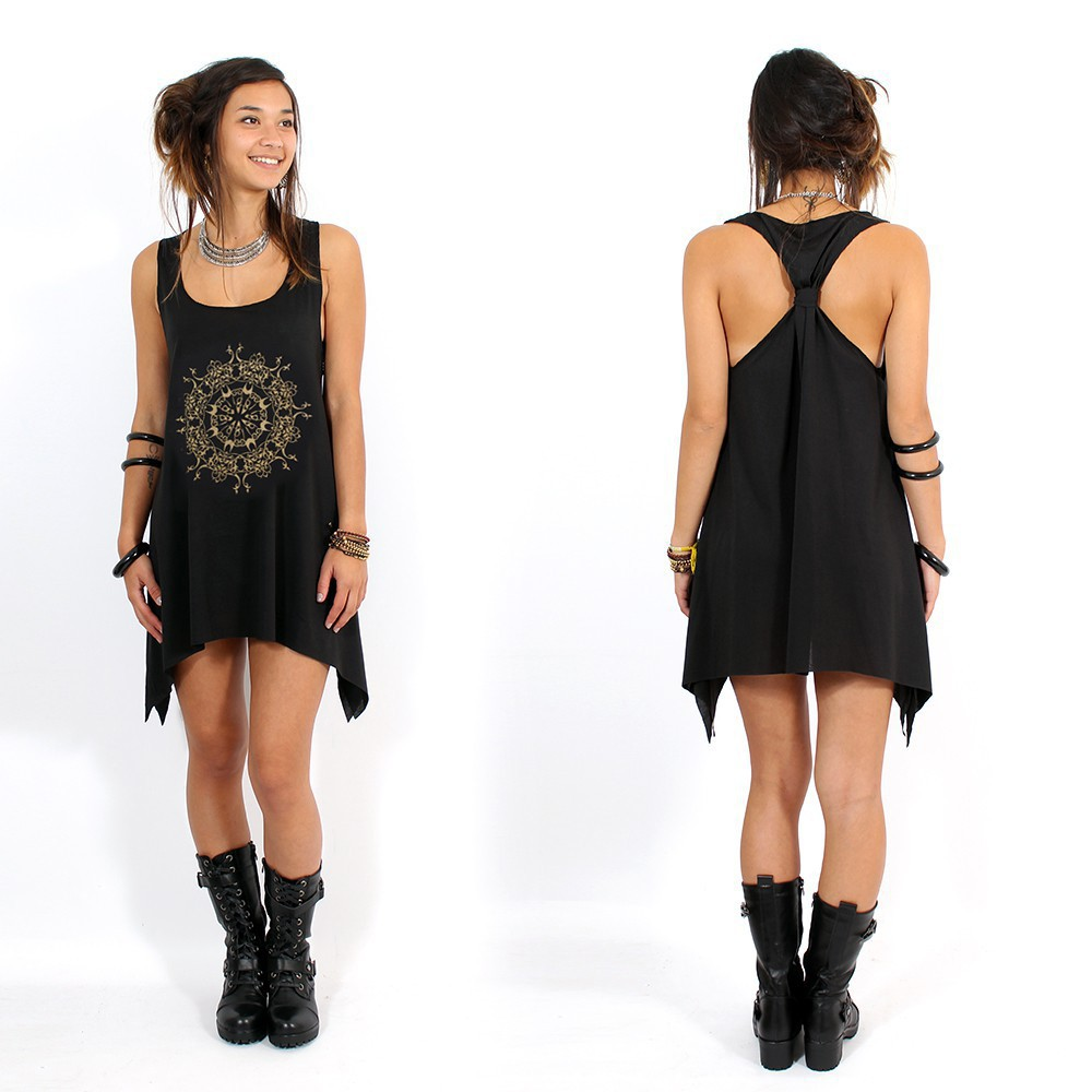 """Snowflake mandala\"" knotted tunic, Black and gold"
