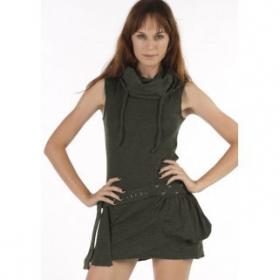 "\""Soba\"" sleeveless dress, Khaki"