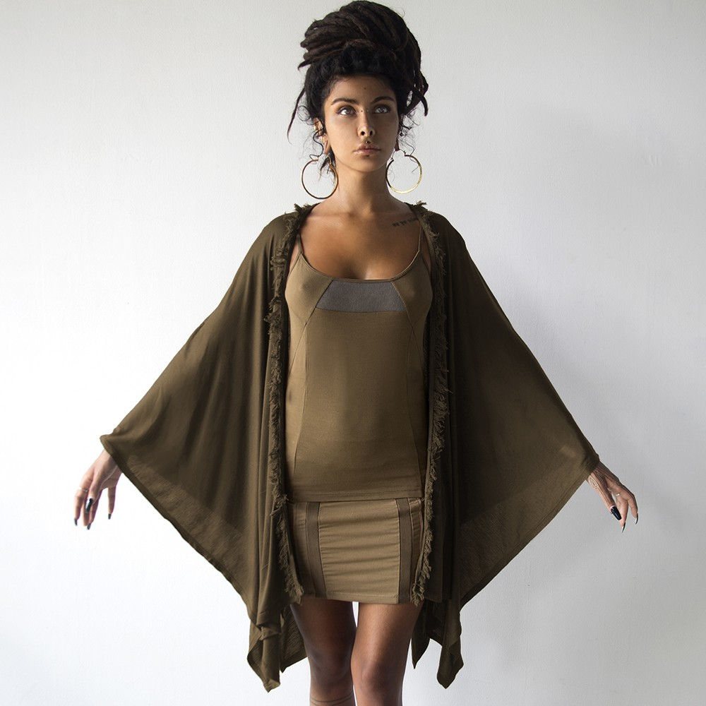 """Soma Knit Hem\"" kaftan shawl, Brown"