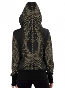 """Soul Flower\"" zipped hoodie, Black"