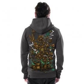 "\""Soundgarden\"" zipped hoodie, Charcoal"