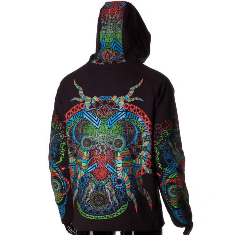 "\""Spirit\"" zipped hoodie, Black"