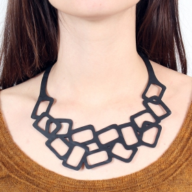 """Square\"" inner tube necklace"