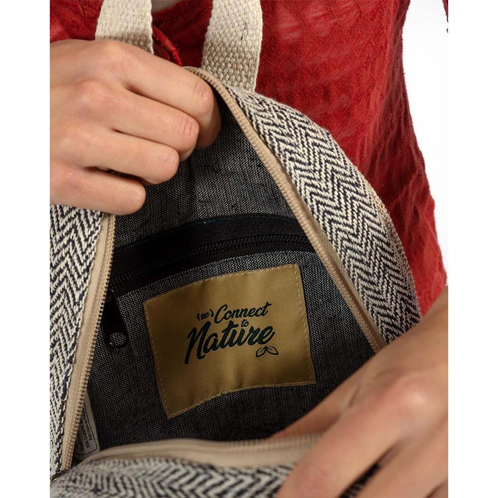 "\""Sunsari\"" mini backpack, anise hemp and cotton"