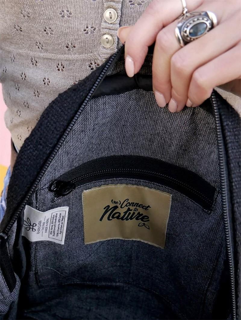 "\""Sunsari\"" mini backpack, Black hemp & cotton"
