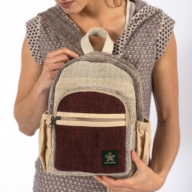 "\""Sunsari\"" mini backpack, brown hemp and cotton"