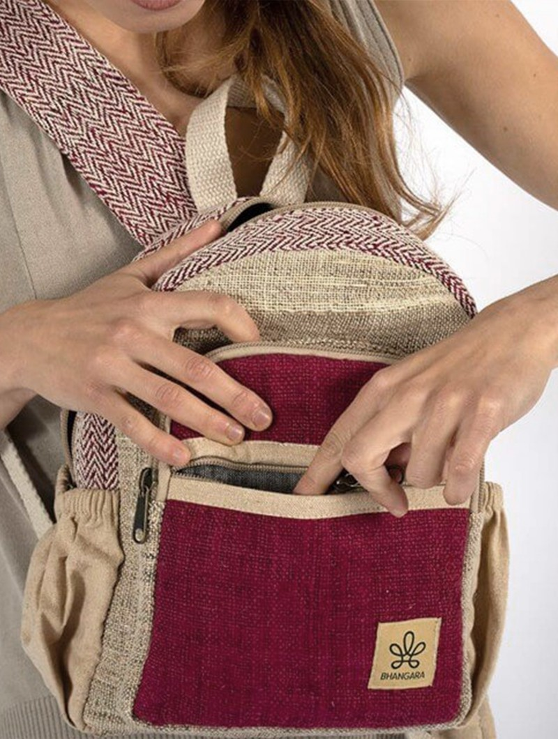 """Sunsari\"" mini backpack, Wine & beige hemp & cotton"