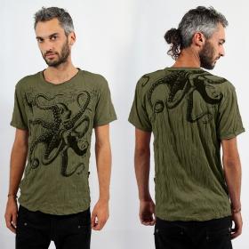 "Sure \\\""Octopus\\\"" T-shirt, Khaki"