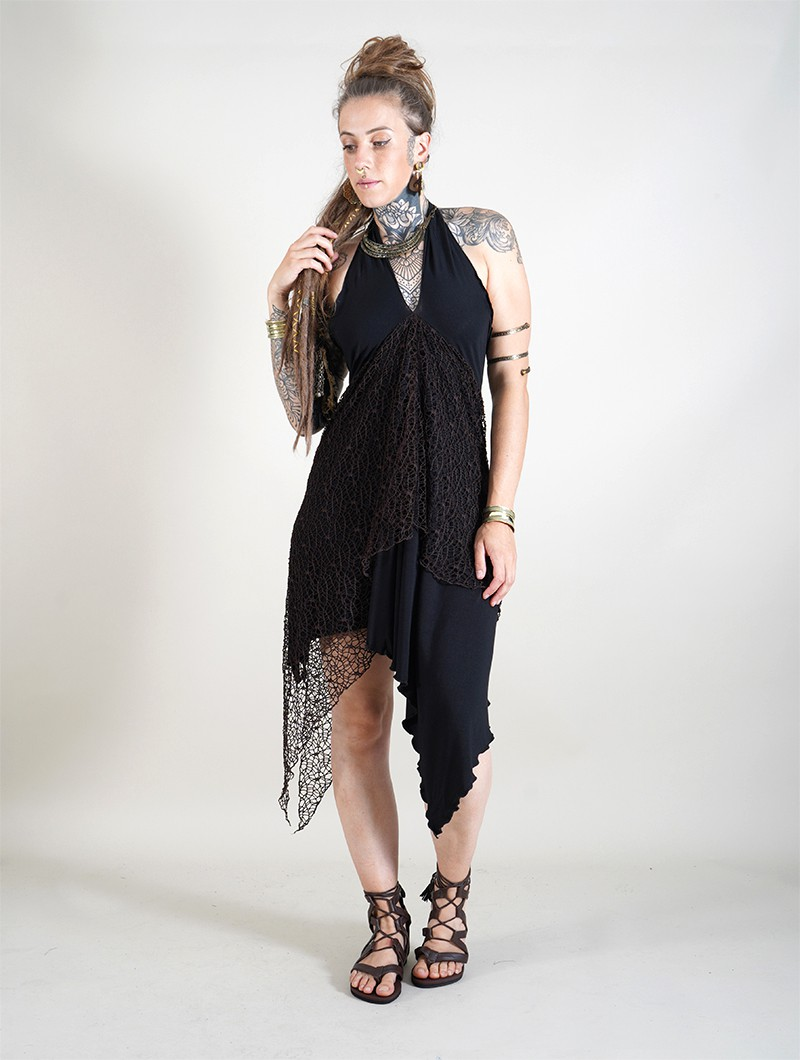 ""\""""Syrada"""" 2in1 Skirt/Tunic, Black with brown lace""800|1060|?|en|2|8cdf4a3c00b27b6f698bdbf65e20c172|False|UNLIKELY|0.30016621947288513