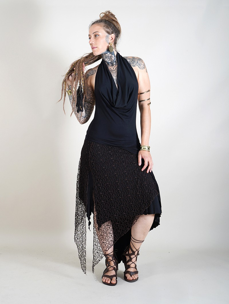 ""\""""Syrada"""" 2in1 Skirt/Tunic, Black with brown lace""800|1060|?|en|2|9d3231d8c62b32b57c2a29485ba1a1cc|False|UNSURE|0.2895906865596771