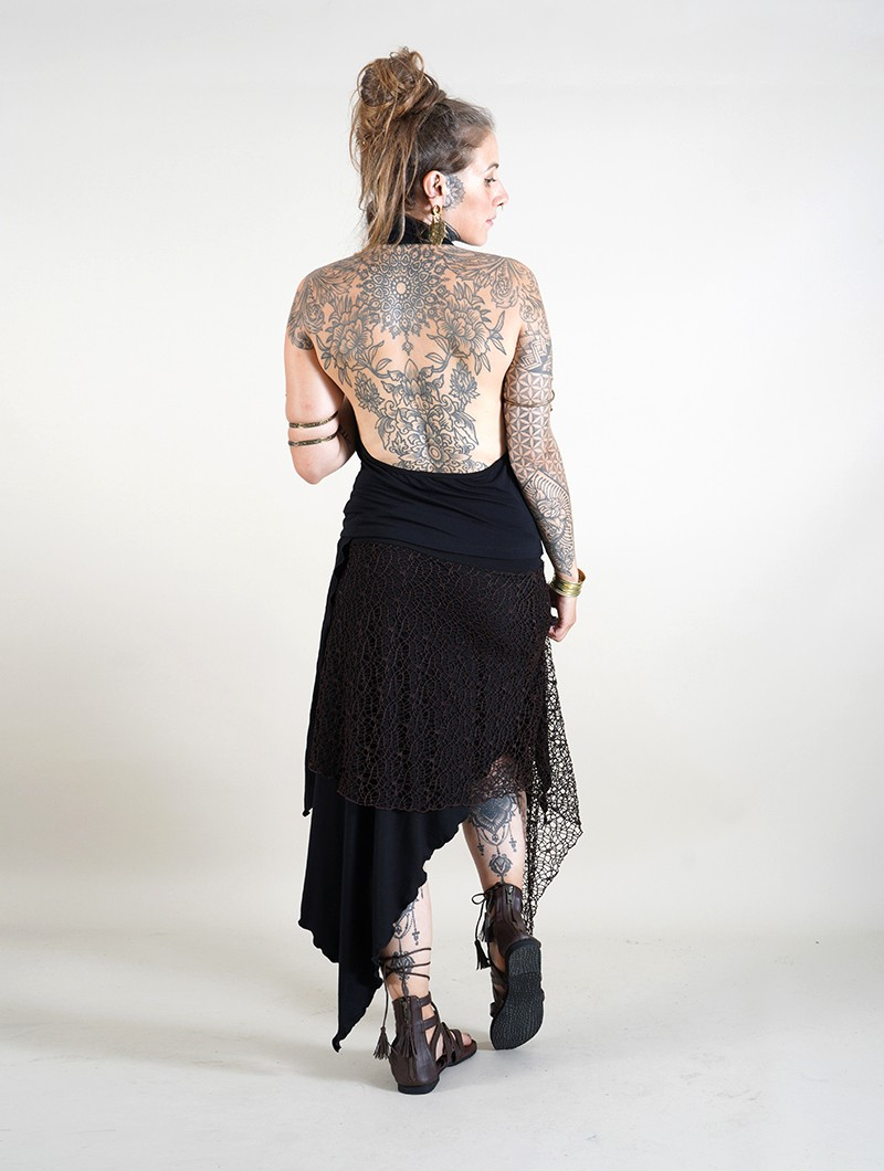 ""\""""Syrada"""" 2in1 Skirt/Tunic, Black with brown lace""800|1060|?|en|2|86a0e535e61ee25149f991b6f09b7286|False|UNLIKELY|0.290039598941803