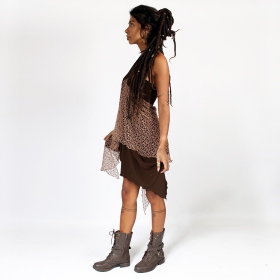 """Syrada\"" 2in1 Skirt/Tunic, Brown with brown lace"