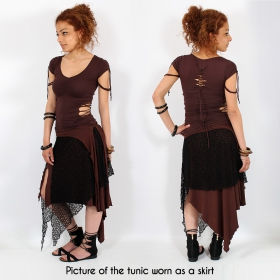 """Syrada"" 2in1 Skirt/Tunic, Brown with brown lace"