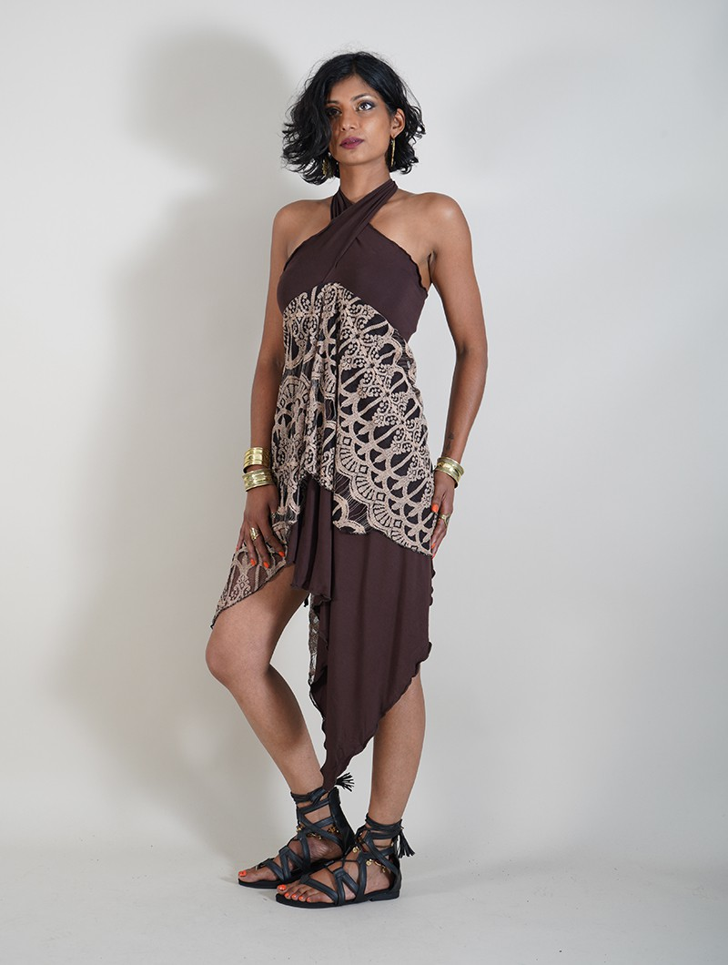 """Syrada\"" 2in1 Skirt/Tunic, Brown with lace"