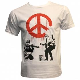 "T-shirt \""banksy army peace\"", white"