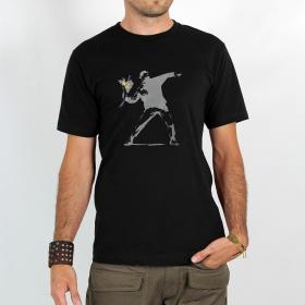 "T-shirt \""banksy hooligan flowers\"""