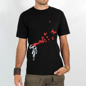"T-shirt ""butterfly manga suicide\"", black"