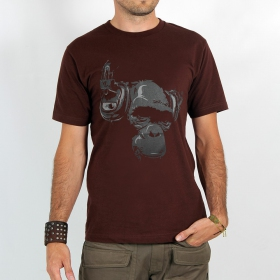 "T-shirt ""dj monkey\"", chocolate"