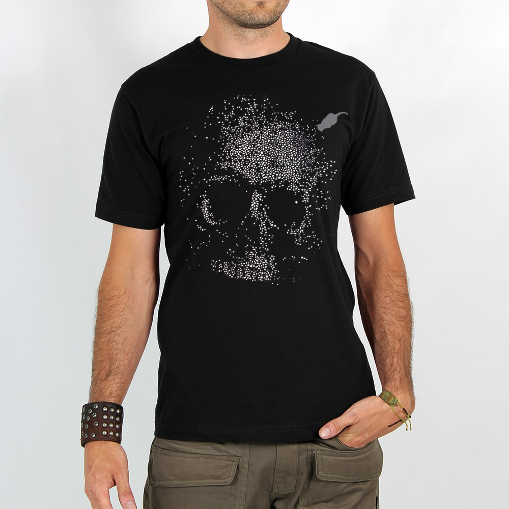 "T-shirt ""dots skull\"", black"