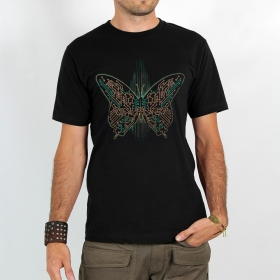 "T-shirt ""electronic butterfly\"", black"