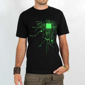 """T-shirt \""""electrosystem\"""", Black and green"""