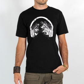 "T-shirt ""headphone birds\"", black"