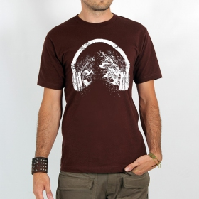 "T-shirt ""headphone birds\"", brown size s"
