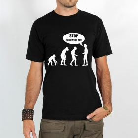 "T-shirt ""human evolution\"", black m"