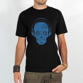 "T-shirt \""liveset skull\\\"", Black and blue"