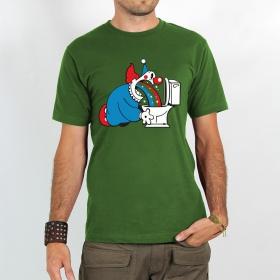 "T-shirt \""magic clown\"", green"