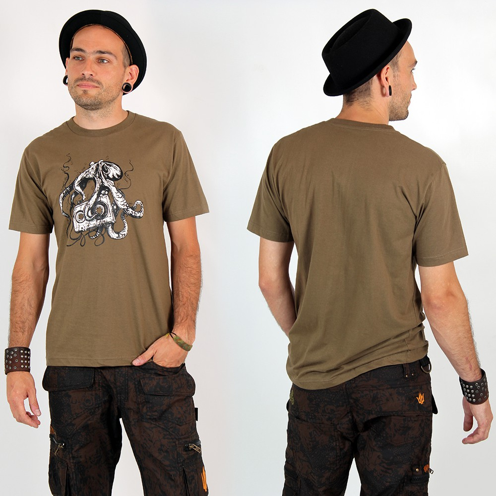 "T-shirt ""octopus k7\"", light brown"