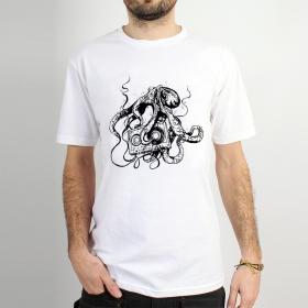 "T-shirt \""octopus k7\"", white"