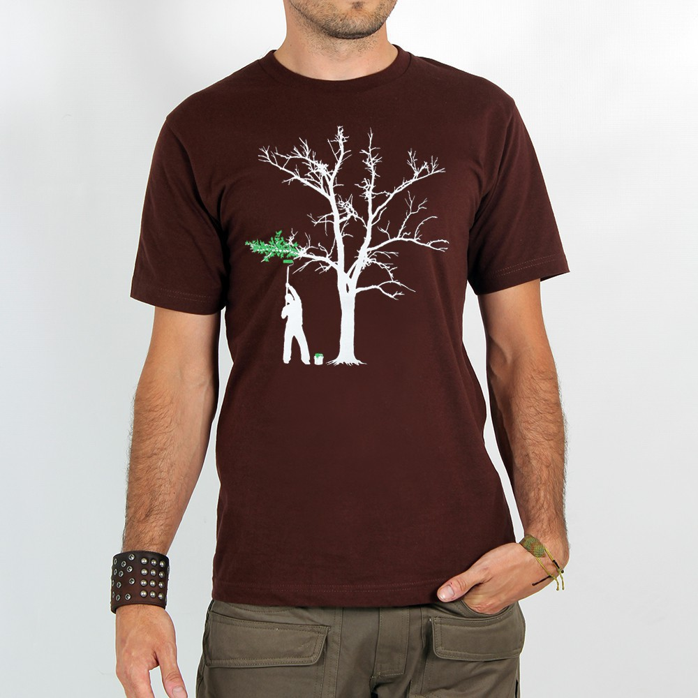 "T-shirt ""painting tree\"", brown"