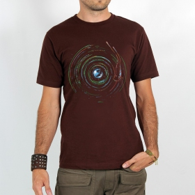 "T-shirt ""planet record\"", Dark brown"