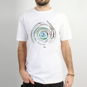 "T-shirt \""planet record\"", White"