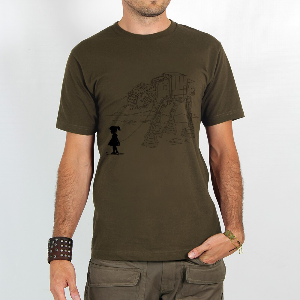 "T-shirt ""robot pet\"", light brown"