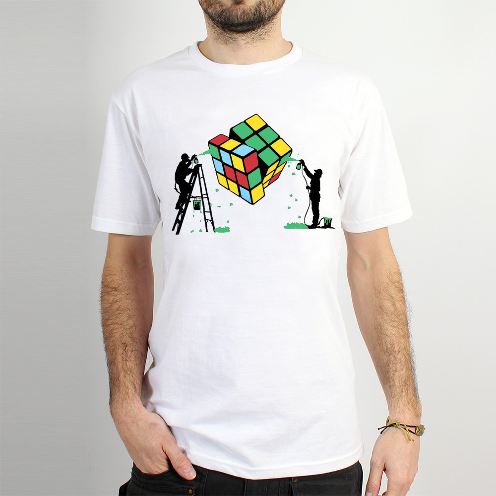 "T-shirt ""rubik\'s cube graffiti\"", white"