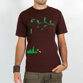 "T-shirt \""tetris ants\"", brown"