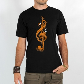 "T-shirt ""vegetal treble clef\"", black"