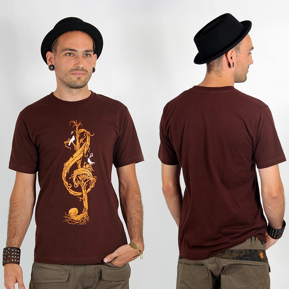 "T-shirt ""vegetal treble clef\"", brown"