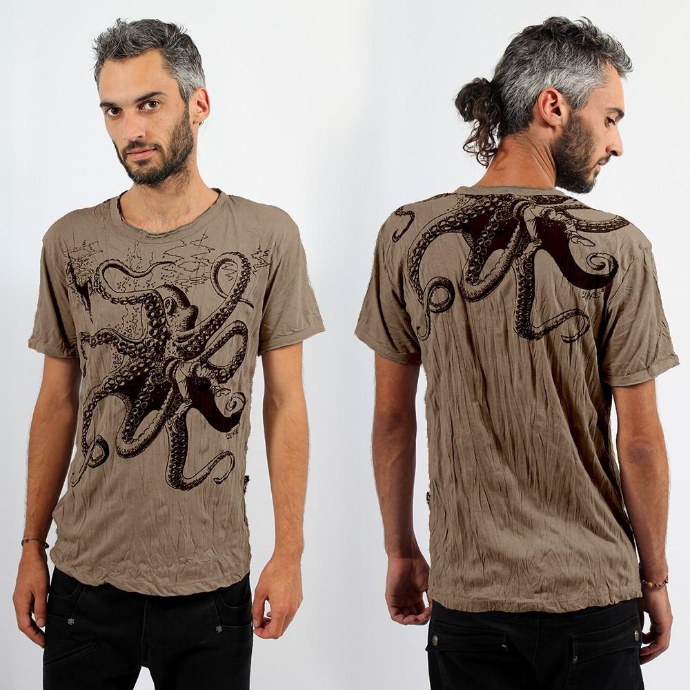 T-shirt octopus light brown
