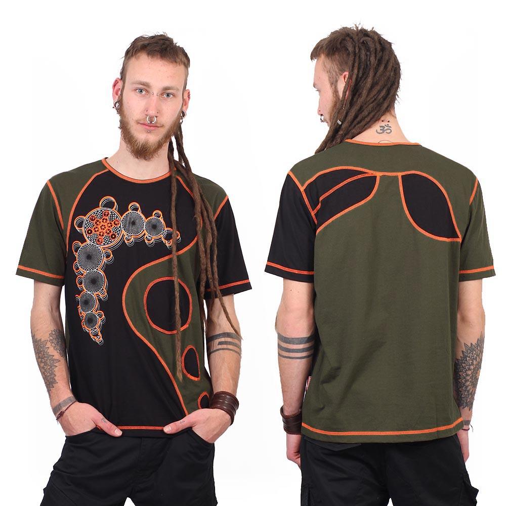 "T-shirt Shaman \""All In One Bubble\"", Black Khaki"