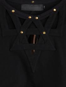 "\""Tacoma\"" bare back long sleeved crop top, Black"