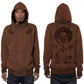 """Tailz\"" zipped hoodie, Dark orange"