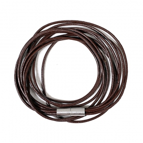 """Tali\"" leather thin straps bracelet, Dark brown"