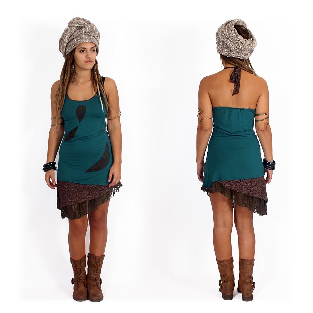 "\""Tarmy\"" dress, Teal and brown"